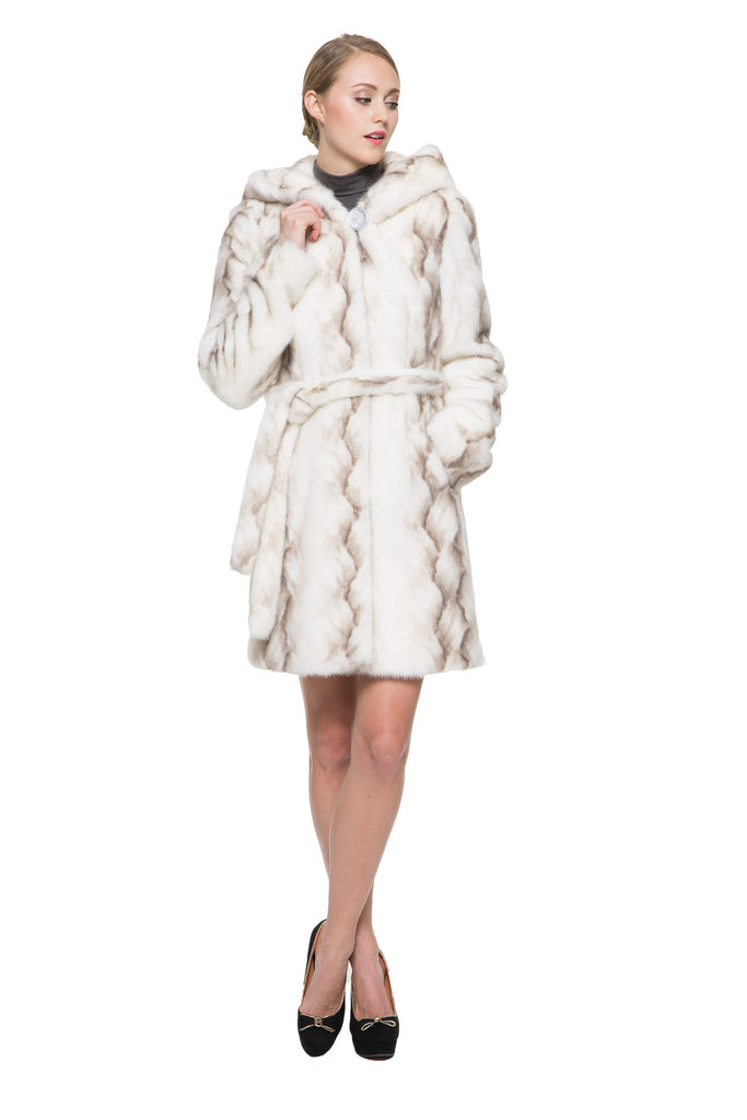 STRIPED WHITE FAUX MINK FUR HOODED COAT - Adelaqueen - 5