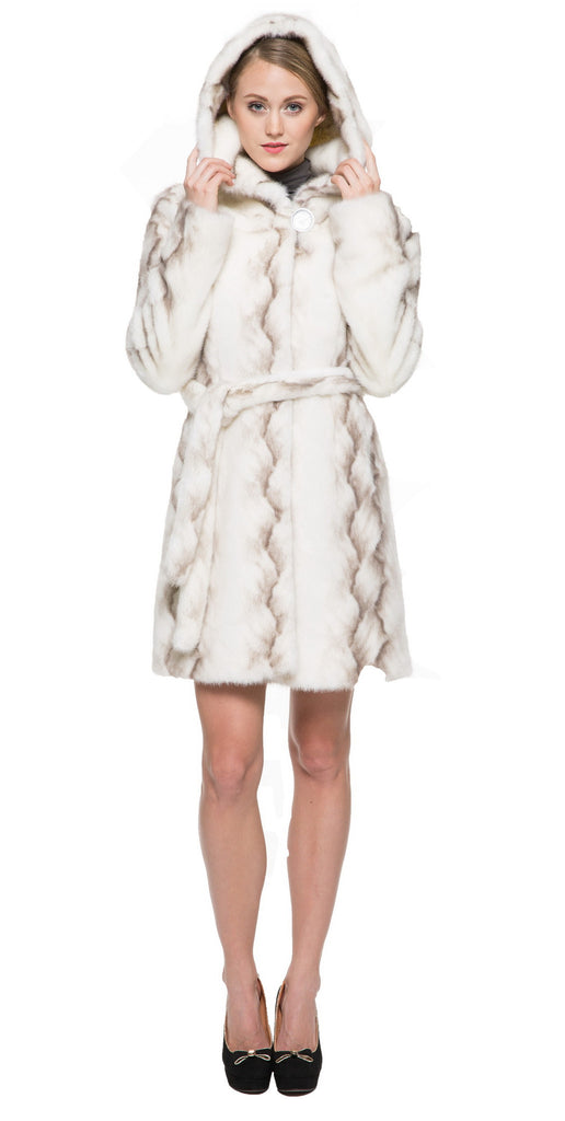 STRIPED WHITE FAUX MINK FUR HOODED COAT - Adelaqueen - 3
