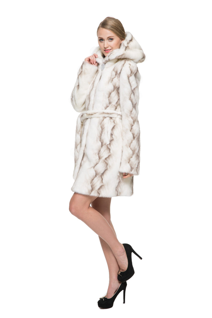 STRIPED WHITE FAUX MINK FUR HOODED COAT - Adelaqueen - 4