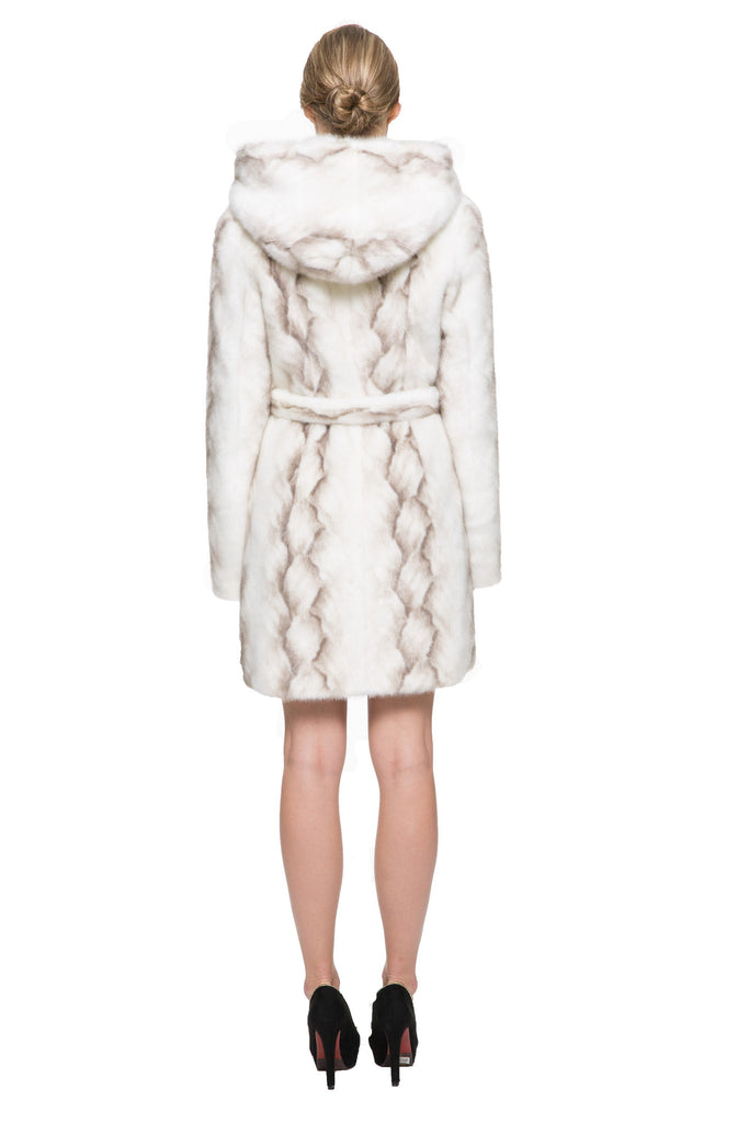STRIPED WHITE FAUX MINK FUR HOODED COAT - Adelaqueen - 6