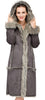 Lush Grey Suede Faux Leather Coat Crafted with Faux Fox Fur - Adelaqueen - 5