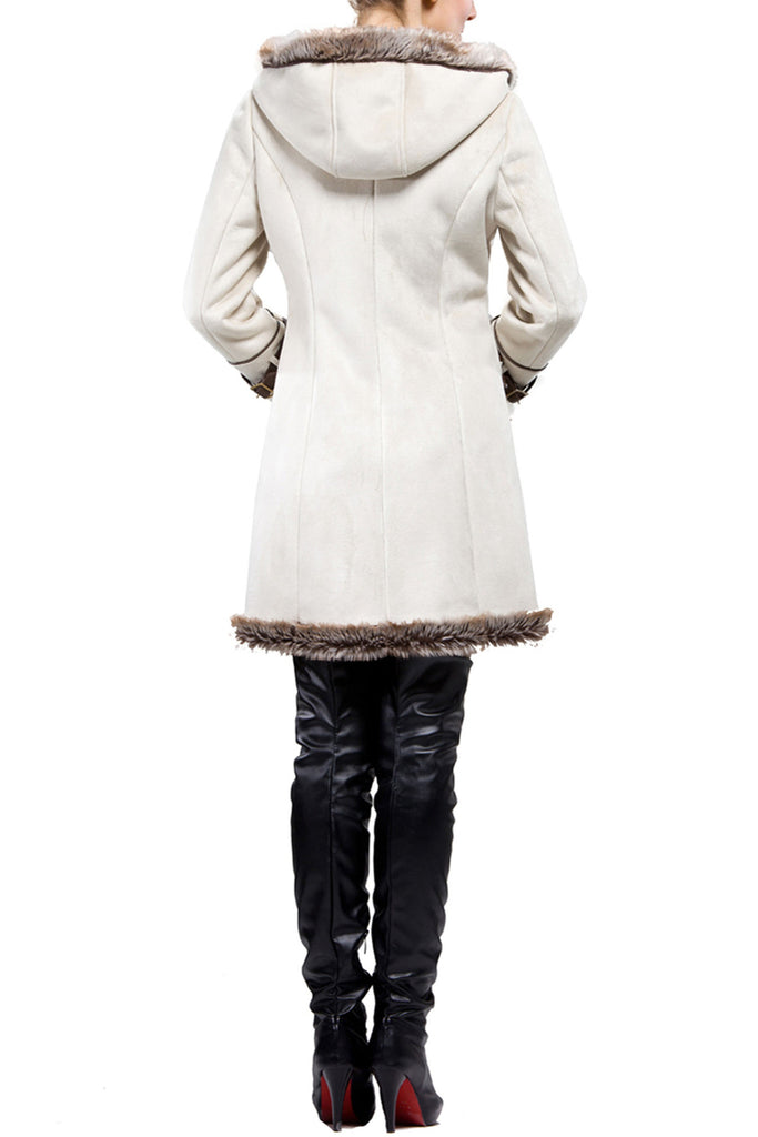 BEIGE FAUX SHEARLING COAT WITH HORN BUTTON AND HOOD - Adelaqueen - 4