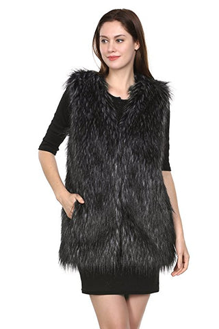 Persian Lamb Fabulous Faux Fur Coat Stylish Black