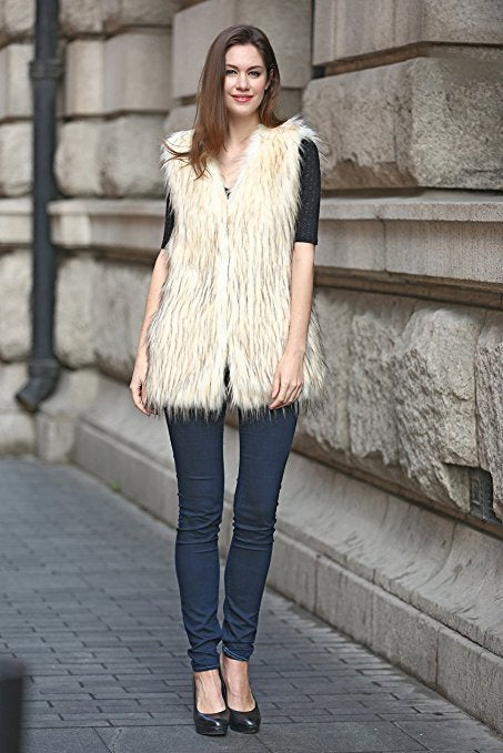 Shaggy Long Hair Hip Length Faux Fox Fur Vest Ivory