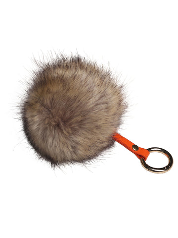 Faux Fur Fuzzy Ball Pom Pom Keychain Chipmunk Color