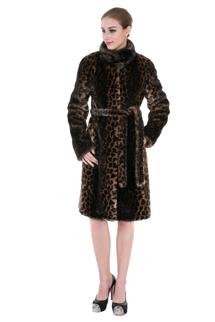 LEOPARD PRINT FAUX MINK FUR COAT WITH STAND COLLAR - Adelaqueen - 2