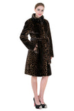 LEOPARD PRINT FAUX MINK FUR COAT WITH STAND COLLAR - Adelaqueen - 3