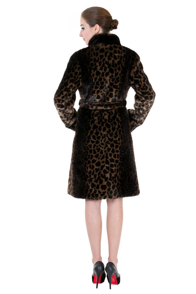 LEOPARD PRINT FAUX MINK FUR COAT WITH STAND COLLAR - Adelaqueen - 5
