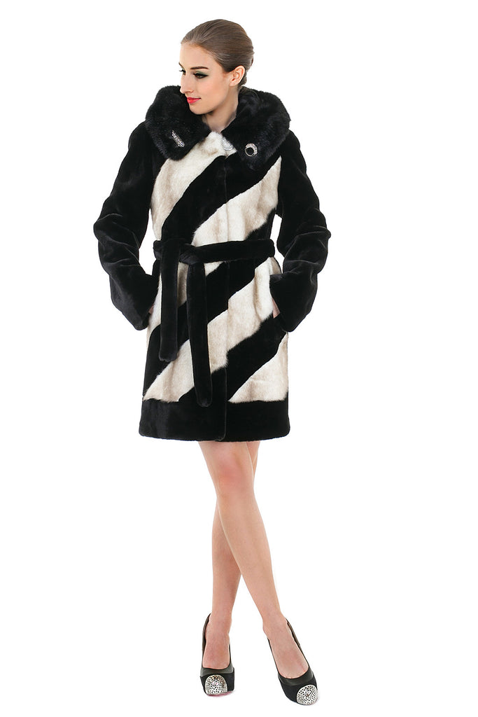 LUXURY COLOUR BLOCK FAUX MINK COAT WITH DIAMOND BUCKLE - Adelaqueen - 2
