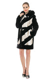 LUXURY COLOUR BLOCK FAUX MINK COAT WITH DIAMOND BUCKLE - Adelaqueen - 3