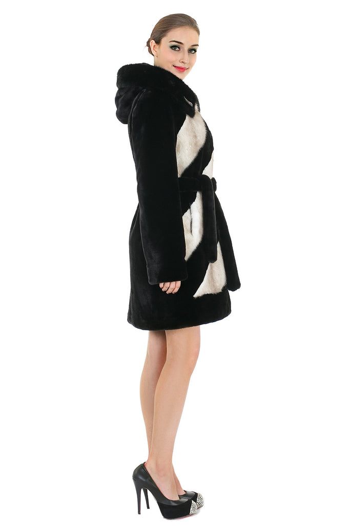 LUXURY COLOUR BLOCK FAUX MINK COAT WITH DIAMOND BUCKLE - Adelaqueen - 4