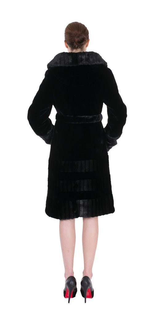 Clearance! Women's New Style Black Full-length Faux Fur Hooded Coat
