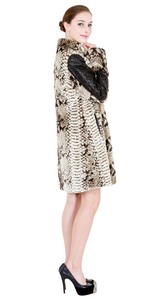 NEW ITALY STYLE ANIMAL PRINT FAUX LEATHER JACKET - Adelaqueen - 4