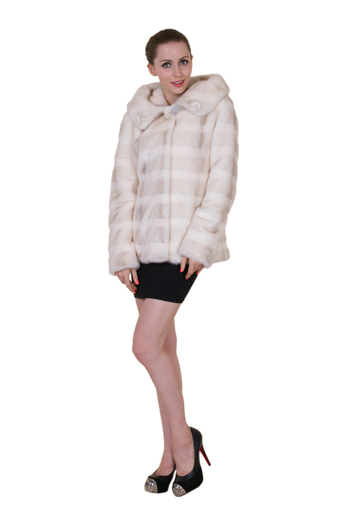 Clearance! Women's Ivory Hip-length Faux Mink Fur Hooded Coat