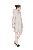 Clearance! Women's Ivory Mink Faux Fur Winter Coat with Hood