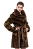 Clearance! Sable Faux Fur Coat Diagonal Pattern Knee Length with Hood