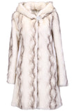 STRIPED WHITE FAUX MINK FUR HOODED COAT - Adelaqueen - 1
