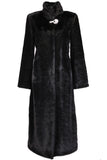 CLASSIC FULL LENGTH BLACK MINK FAUX FUR COAT - Adelaqueen - 1