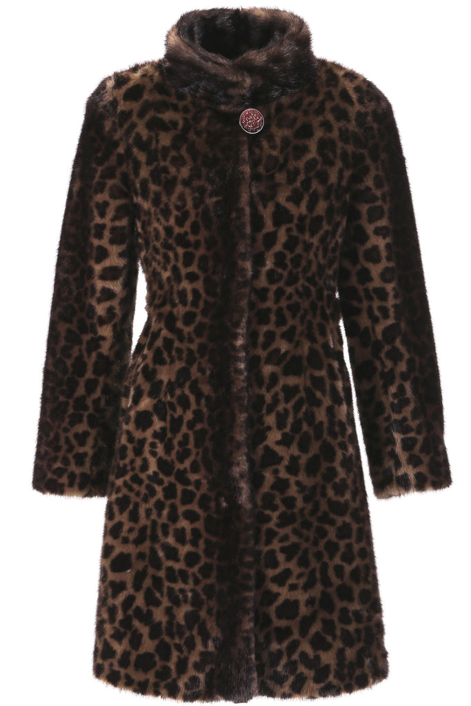 LEOPARD PRINT FAUX MINK FUR COAT WITH STAND COLLAR - Adelaqueen - 1