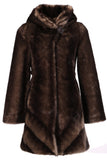 IMPRESSION BROWN SABLE FAUX FUR COAT WITH HOOD - Adelaqueen - 1