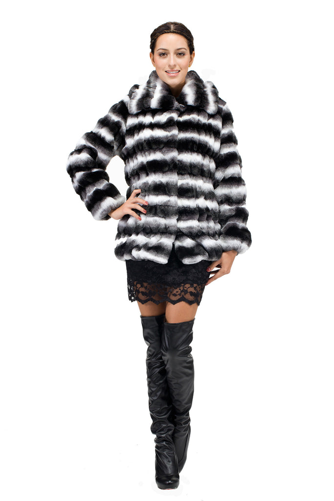 Fabulous Luxury Faux Fur Coat Chinchilla Jacket White & Black - Adelaqueen - 3