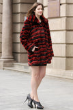 Red & Black Wave Stripe Lush Chinchilla Faux Fur Coat - Adelaqueen - 5