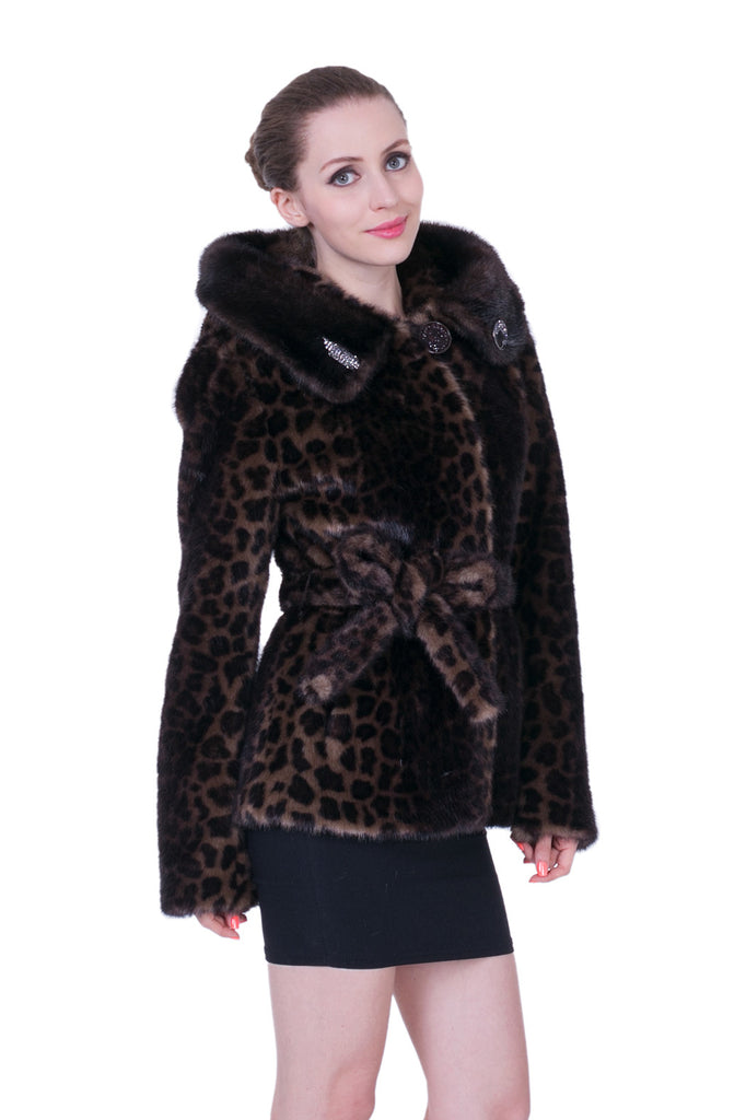 Leopard Print Mink Faux Fur Coat with Hood Brown – Adelaqueen c871868a4