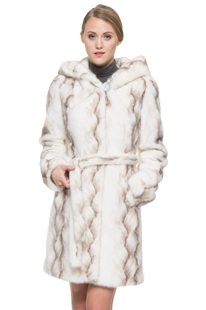 STRIPED WHITE FAUX MINK FUR HOODED COAT - Adelaqueen - 2