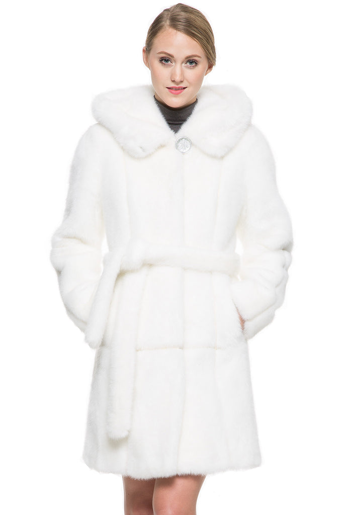 SNOW PRINCESS WHITE MINK FAUX FUR COAT WITH HOODED - Adelaqueen - 1