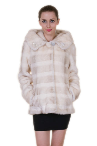 Elegant Beige Faux Fur Coat Middle Length with Stand Collar
