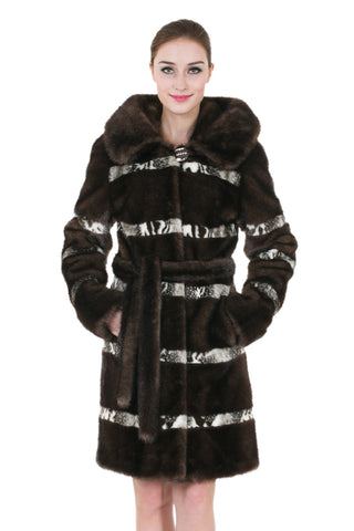 Clearance! Black Lush Faux Suede Faux Fur Floral Print Reversible Coat