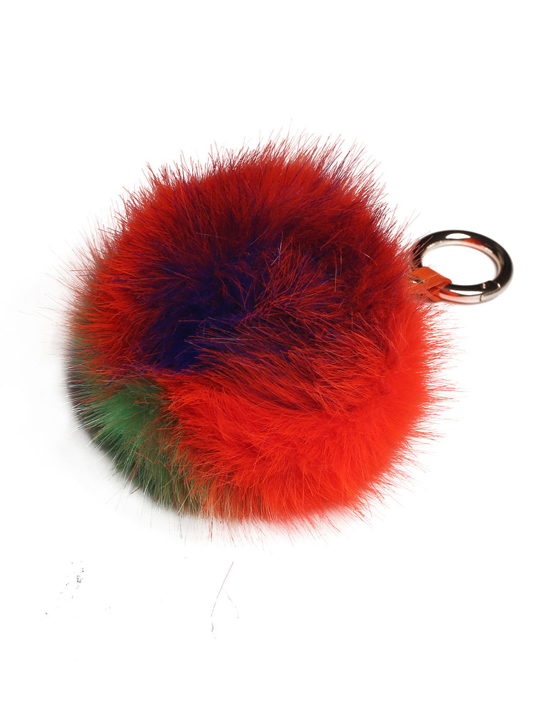 Faux Fur Fuzzy Ball Pom Pom Keychain Orange