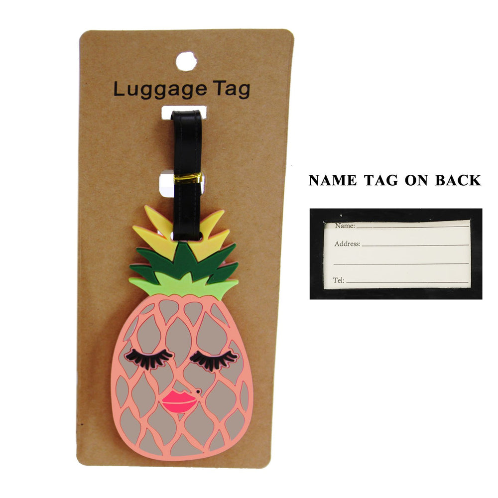Pink Pineapple With Eyelashes/Lips Luggage Tag - TAG1032PK