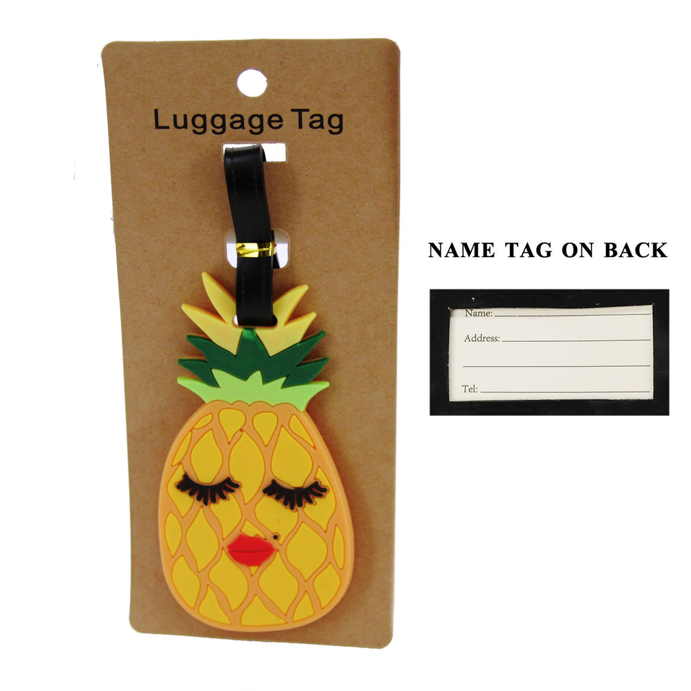 Yellow Pineapple With Eyelashes/Lips Luggage Tag - TAG1031YE