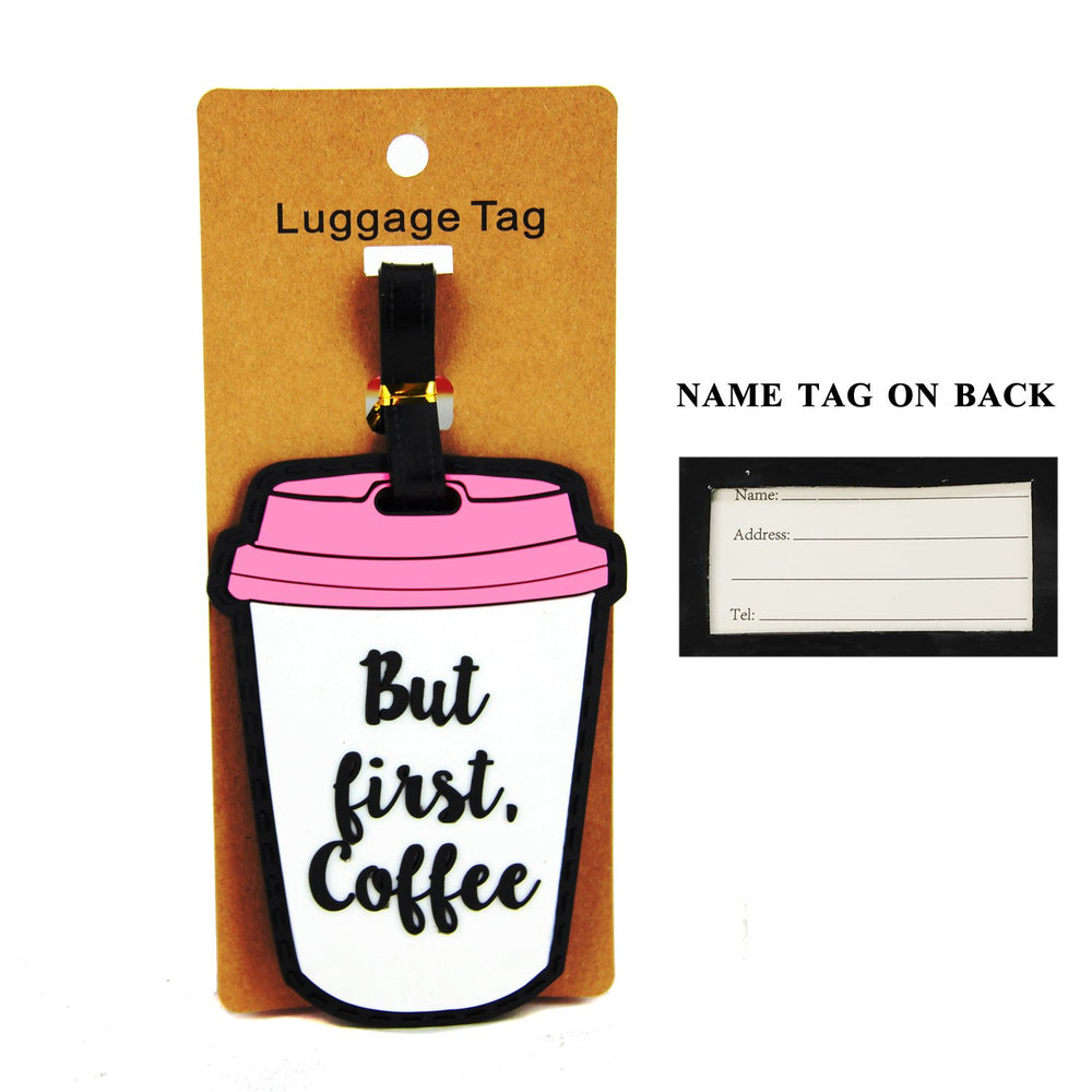But First, Coffee White/Pink/Black Luggage Tag - TAG401WH