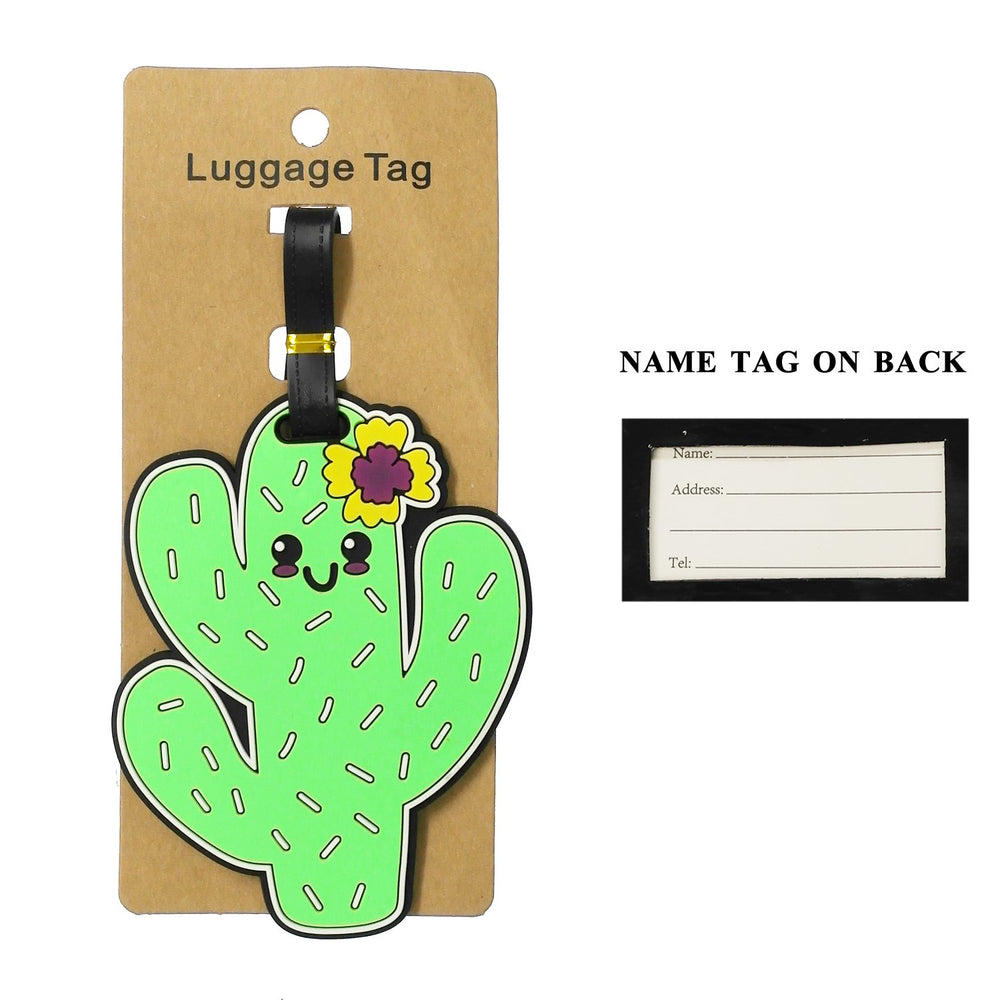 Green Smiling Cactus With Flower Luggage Tag - TAG1025GN