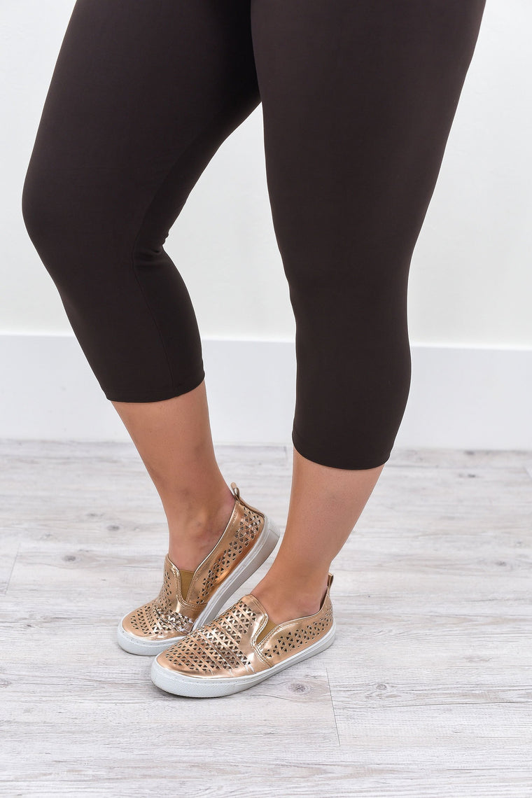 Brown Capris Solid Leggings (Sizes 20-26) - LEG1473BR