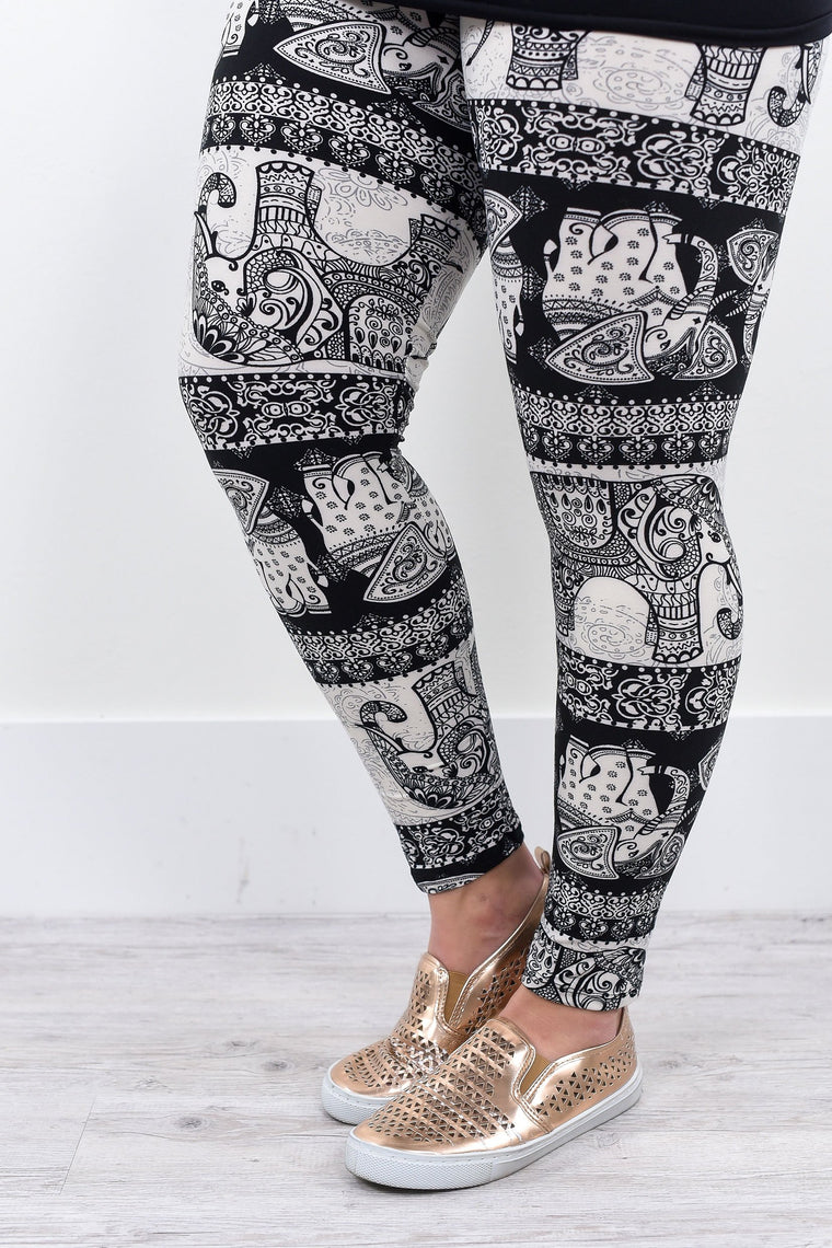 Black/Ivory Elephant Printed Leggings (Sizes 12-18) - LEG1256BK