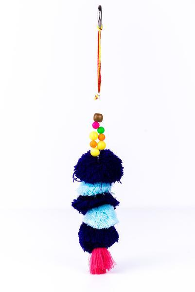 Purple/Multi-Color Pom Pom Keychain - KEY1024PU