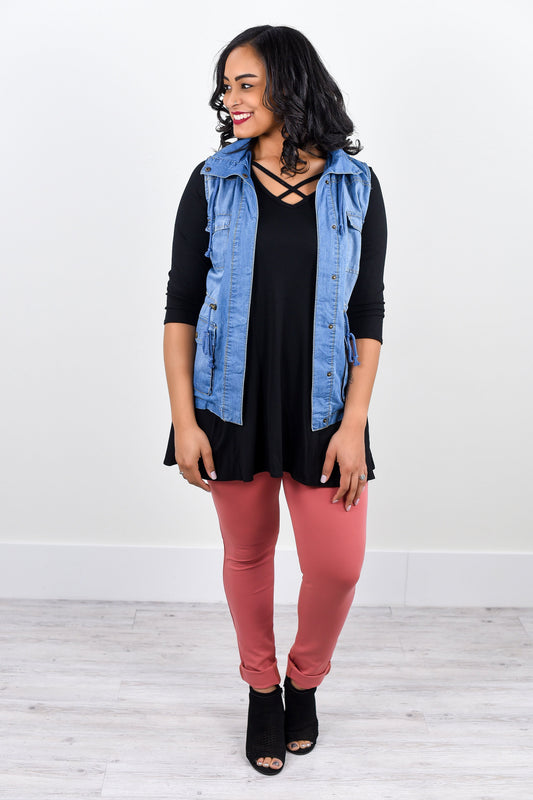 Best Of The Best Light Denim Button Down Vest - J129DN
