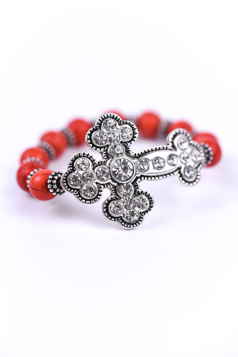 Coral/Silver Bling Cross Stretch Bracelet - BRC1225CO