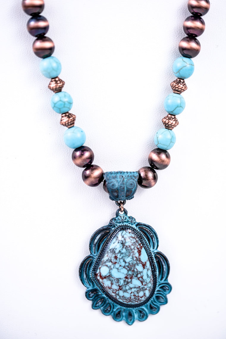 Patina Medallion On Copper/Turquoise Beaded Brown Suede Cord Necklace - NEK1414PA