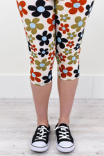 Multi Color Floral Capri Printed Leggings (Sizes 4-12) - LEG1107BG