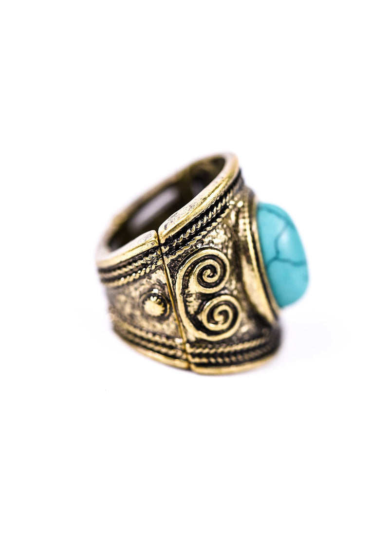 Antique Gold With Turquoise Stone Stretch Ring - RNG1013AG
