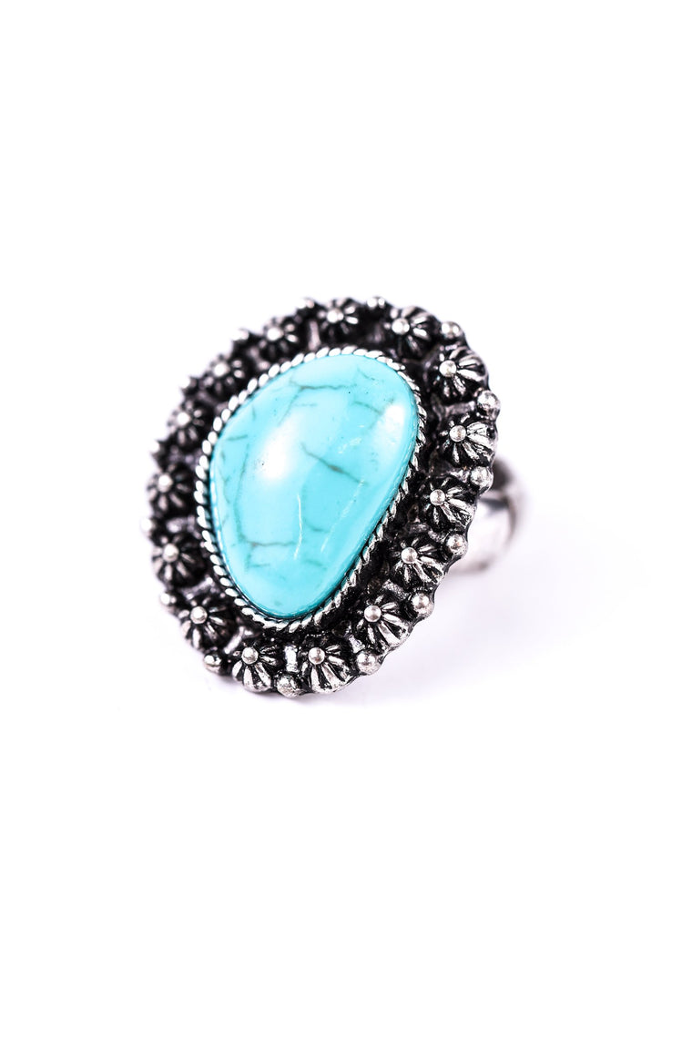 Silver With Turquoise Stone Stretch Ring - RNG1012TU