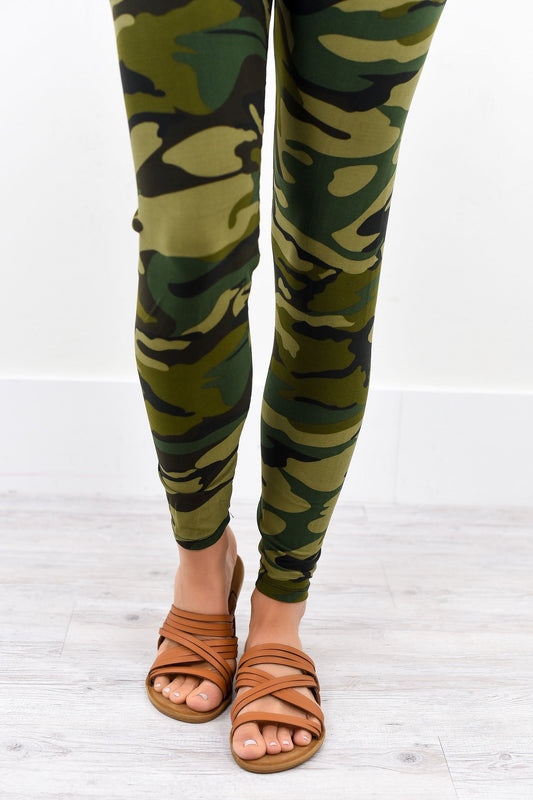 Camouflage Wide Band Printed Leggings (Sizes 4-12) - LEG1702CA