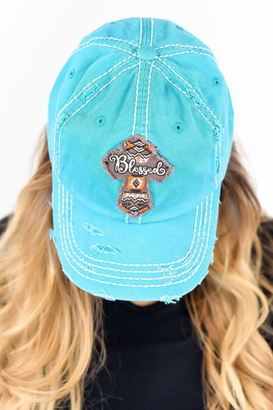 Blessed Vintage Turquoise Distressed Hat - HAT1025TU