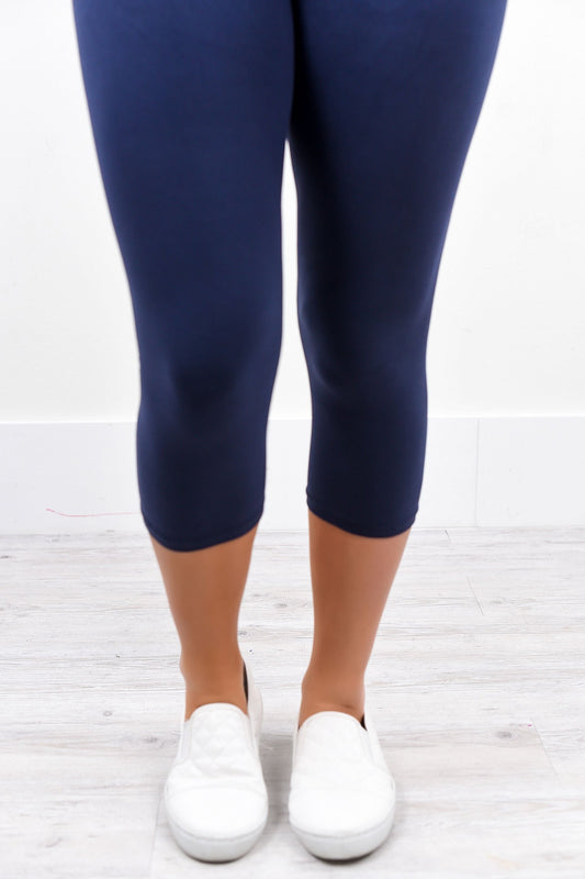 Navy Solid Capri Leggings (Sizes 4-12) - LEG1691NV
