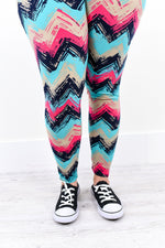Turquoise/Pink Chevron Printed Leggings (Sizes 20-26) - LEG1723TU