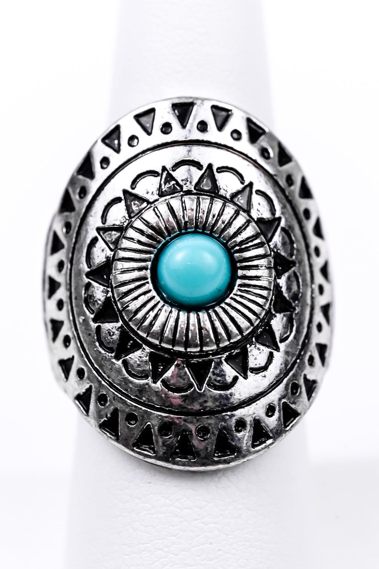 Silver/Turquoise Stone Stretch Ring - RNG1027SI